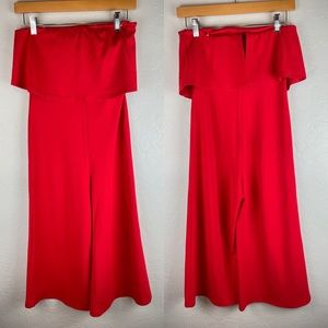 Blue Blush Strapless Crop Jumpsuit in Red NWT Med